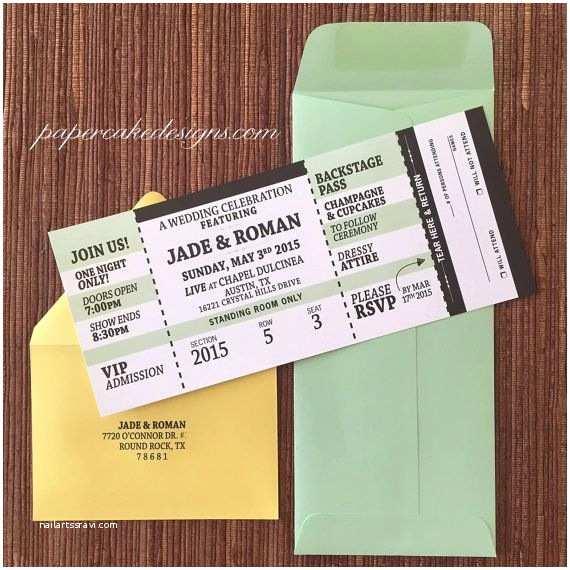 Ticket Stub Wedding Invitations Concert Ticket Invitation with Rsvp Tear Off Stub