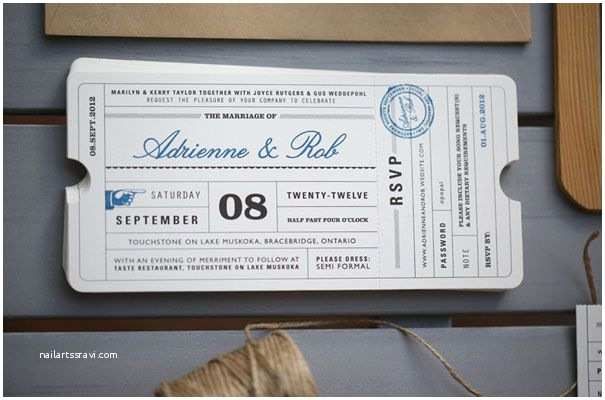 Ticket Stub Wedding Invitations Lula Bella Stationery Invitation Travel Ticket Wedding 7