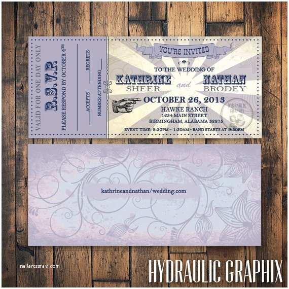 Ticket Stub Wedding Invitations Printable Wedding Ticket Invitation and Rsvp Vip Music