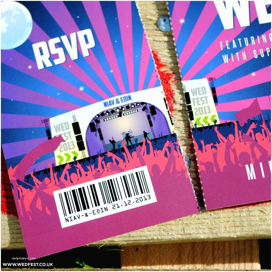 Ticket Stub Wedding Invitations Wed Fest Festival themed and Inspired Wedding Stationery