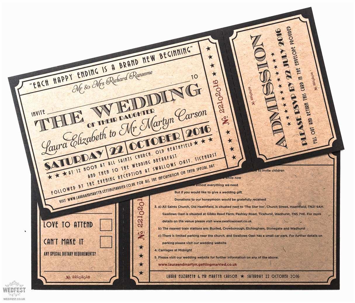 Ticket Wedding Invitations Cinema and Movie themed Wedding Stationery