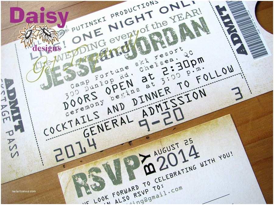 Ticket Wedding Invitations Concert Ticket Wedding Invitation by Daisy Designs