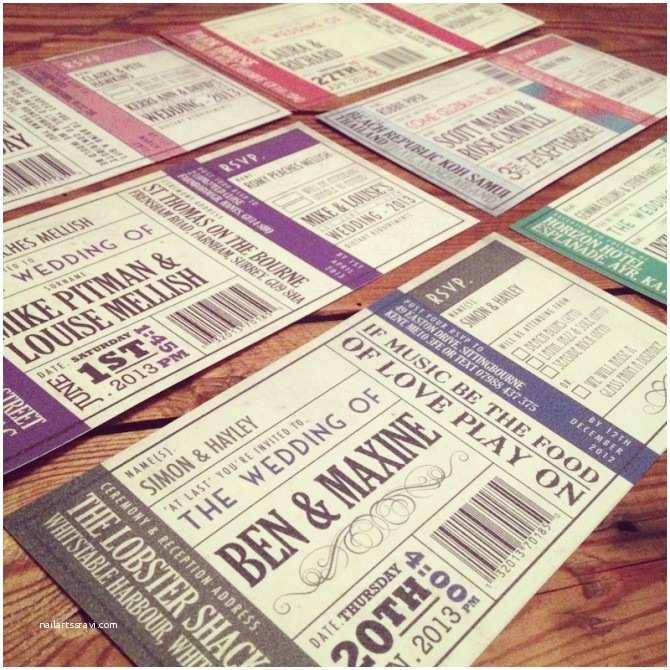 vintage ticket wedding invitations 2