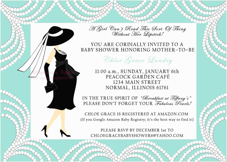 Tiffany Blue Baby Shower Invitations Breakfast at Tiffanys Baby Shower Invitation