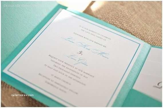 Tiffany Blue Pocket Wedding Invitations Items Similar to Aqua Blue Pocketfold Wedding Invitation