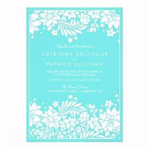 Tiffany Blue Wedding Invitations Tiffany Blue Floral Pattern Wedding Invitation