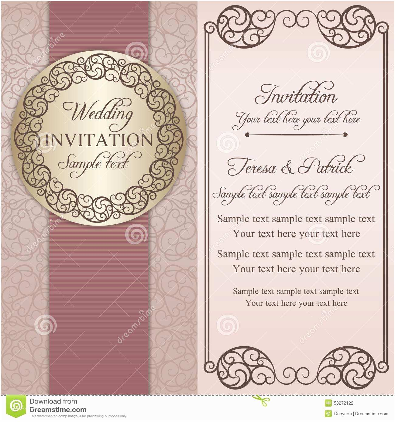 Time Frame for Wedding Invitations Baroque Wedding Invitation Pink and Beige Stock