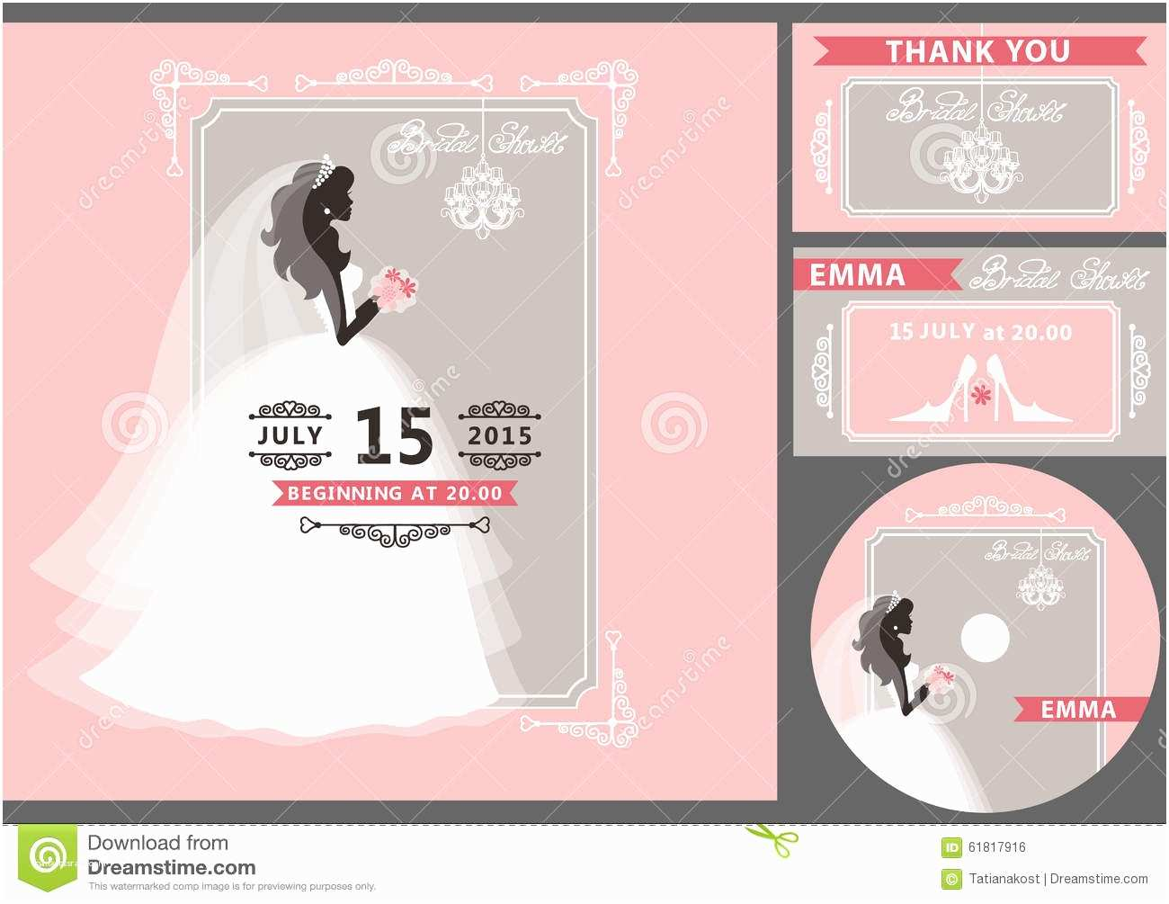 Time Frame for Wedding Invitations Bridal Shower Template Set Bride Silhouette Frame Stock