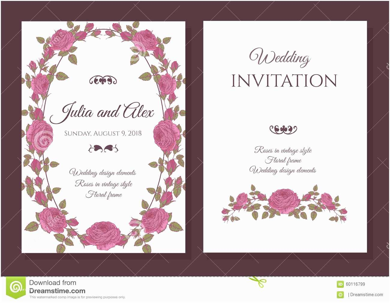 Time Frame for Wedding Invitations Floral Card Stock Graphy