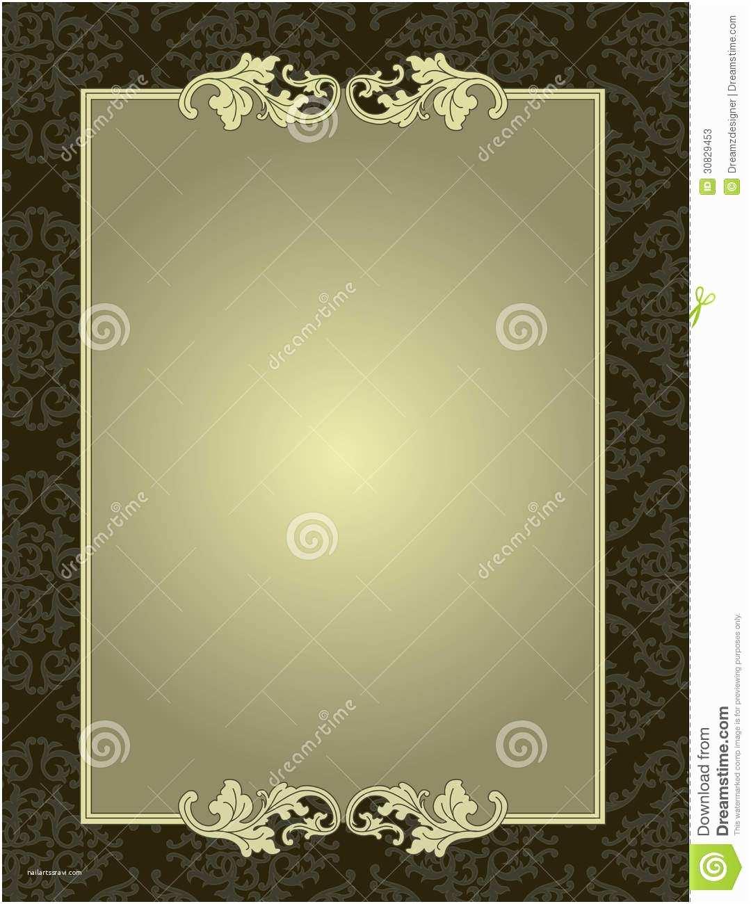 Time Frame for Wedding Invitations ornamental Frame Damask Pattern Background Card Stock