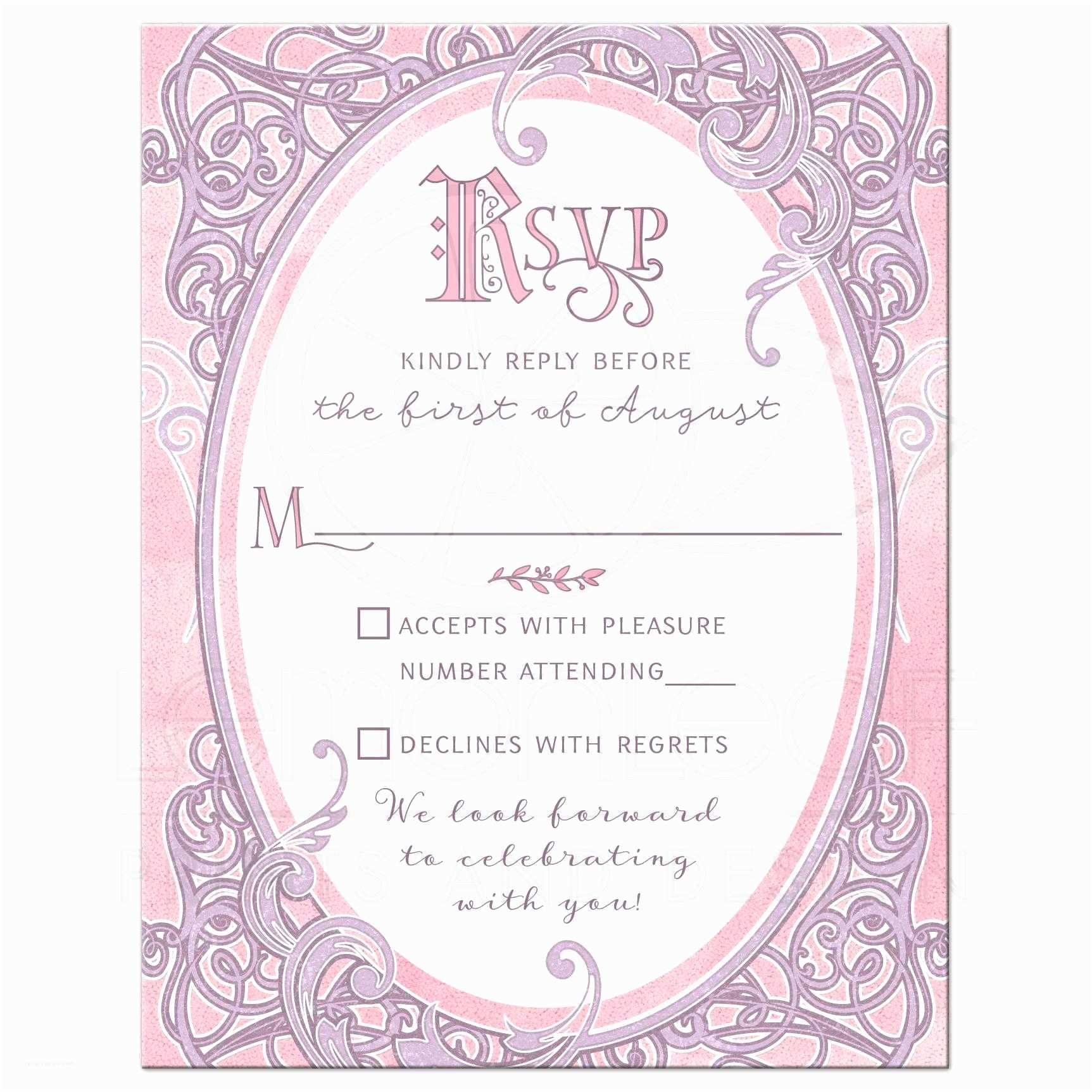 Time Frame for Wedding Invitations Pink Purple Fairy Tale Wedding Reply Card