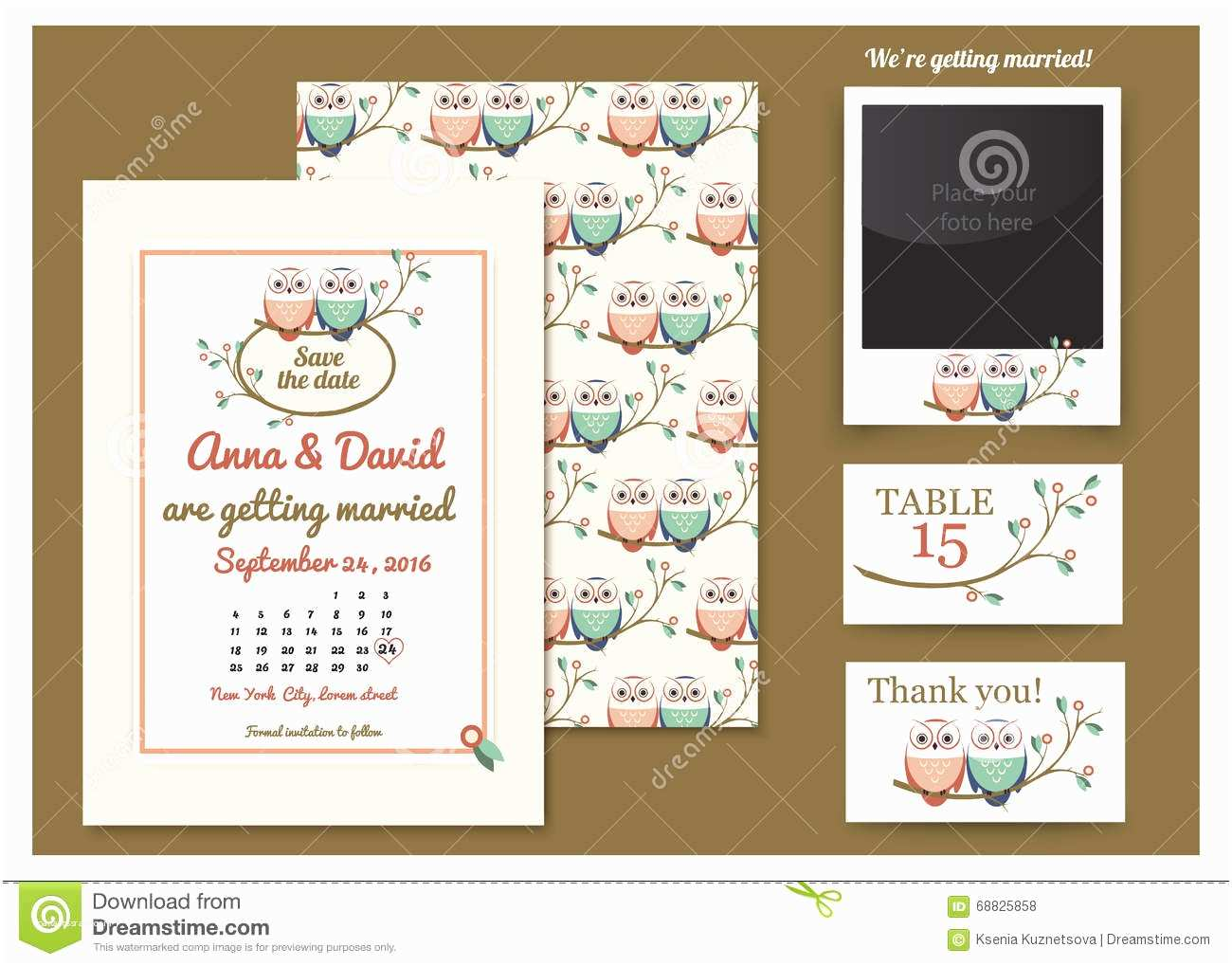 Time Frame for Wedding Invitations Template Card with Owls A Tree Branch Greeting Card