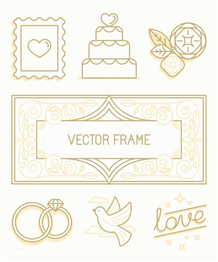 Time Frame for Wedding Invitations Vector Linear Design Elements for Wedding Invitations