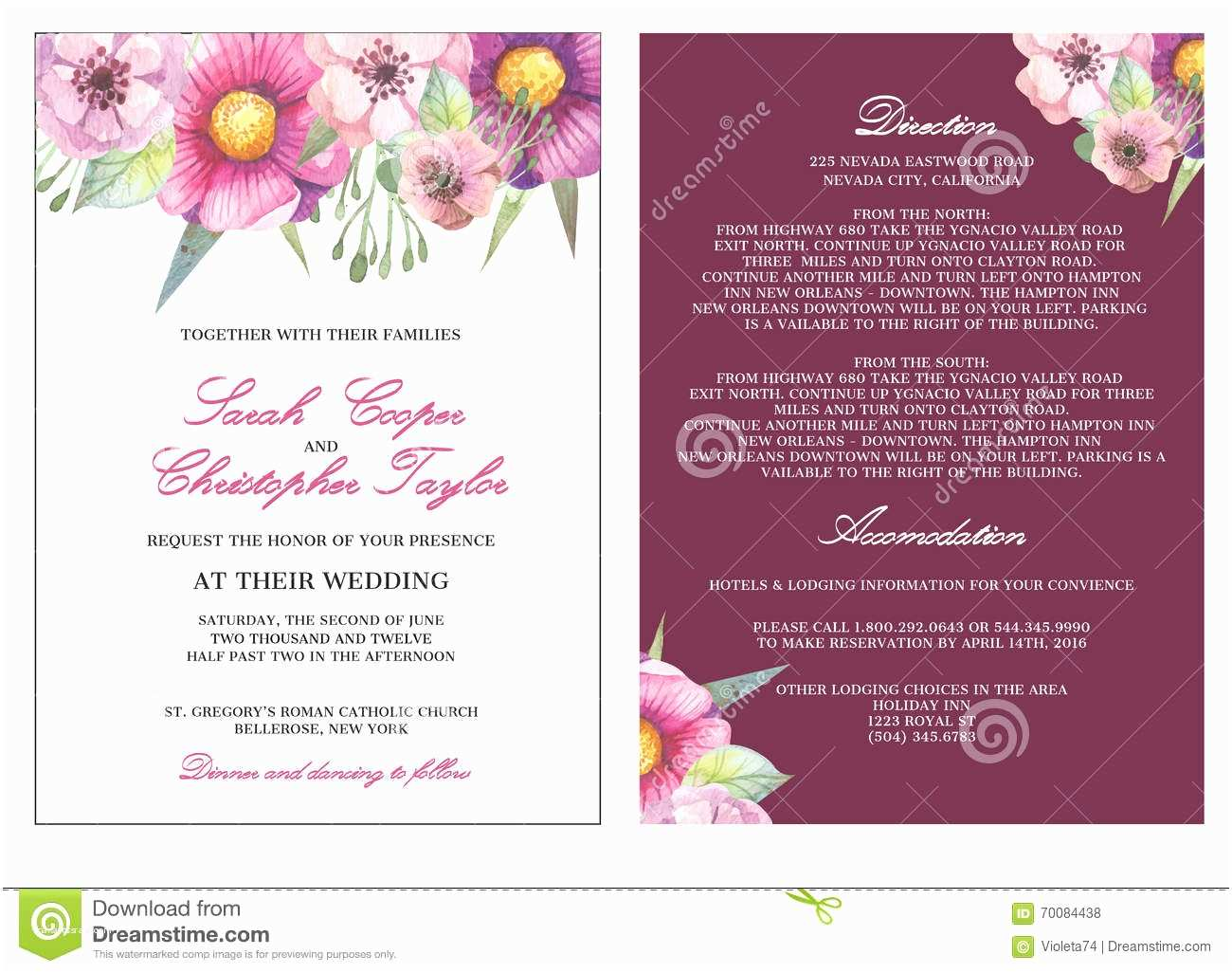 Time Frame for Wedding Invitations Wedding Invitation Card Invitation with Watercolor Flowers