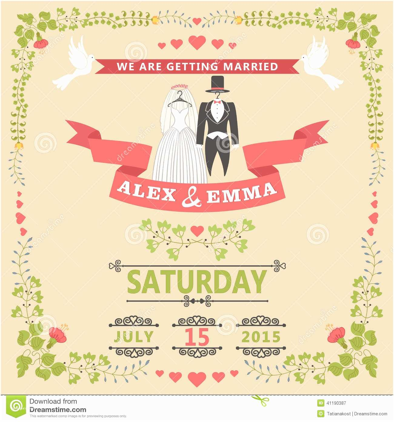 Time Frame for Wedding Invitations Wedding Invitation with Wedding Clothes and Floral Frame