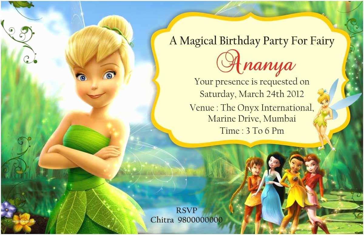 Tinkerbell Birthday Invitations Party Invitation Card Invite Personalised Return