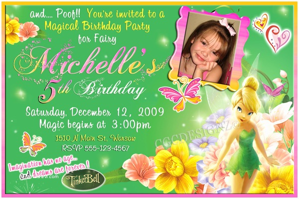 tinker bell birthday party invitatiion ideas