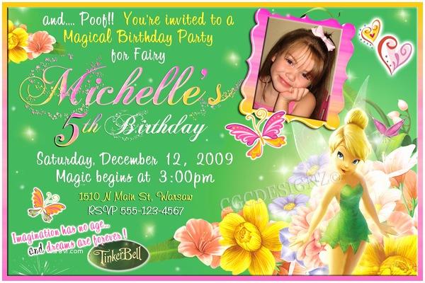 tinker bell birthday party invitatiion ideas