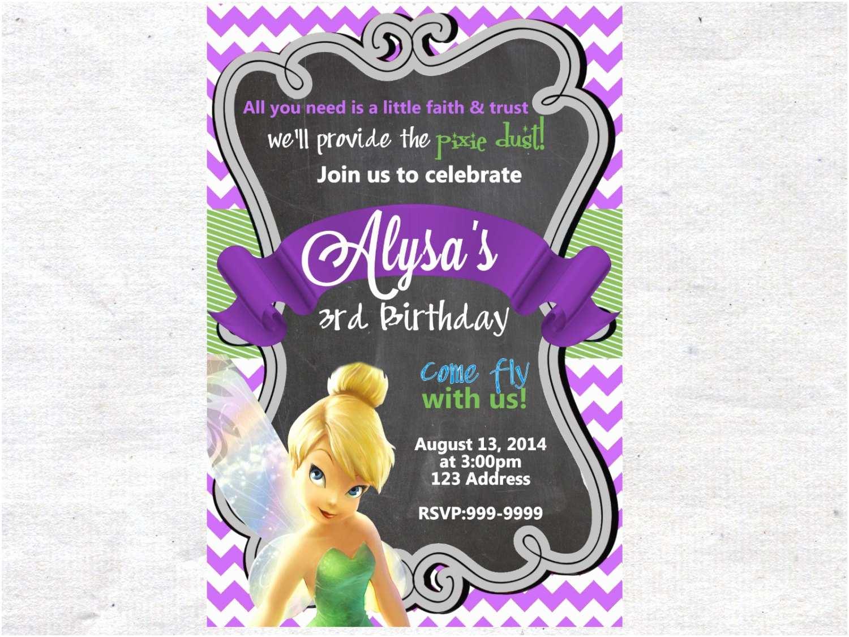 Tinkerbell Birthday Invitations Tinkerbell Birthday Invitation Invite Chalkboard Chevron