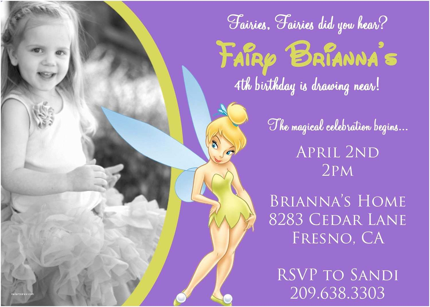Tinkerbell Birthday Invitations Tinkerbell Birthday Invitation with by