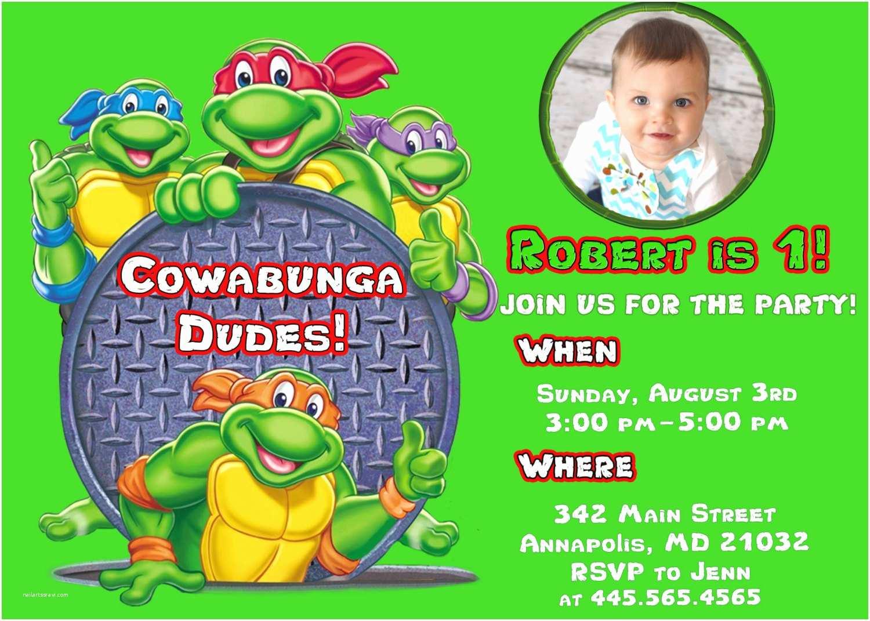 Tmnt Birthday Invitations Ninja Turtle Birthday Party Invitations