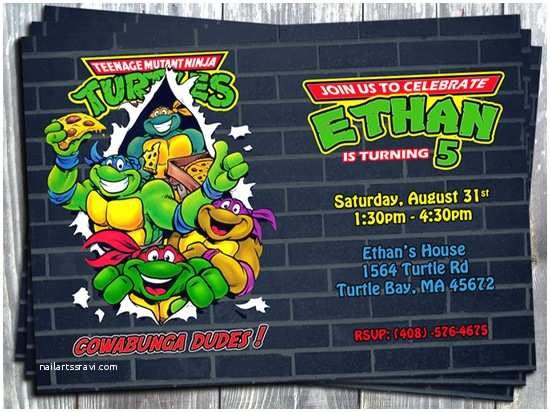 Tmnt Birthday Invitations Ninja Turtle Party Invitations