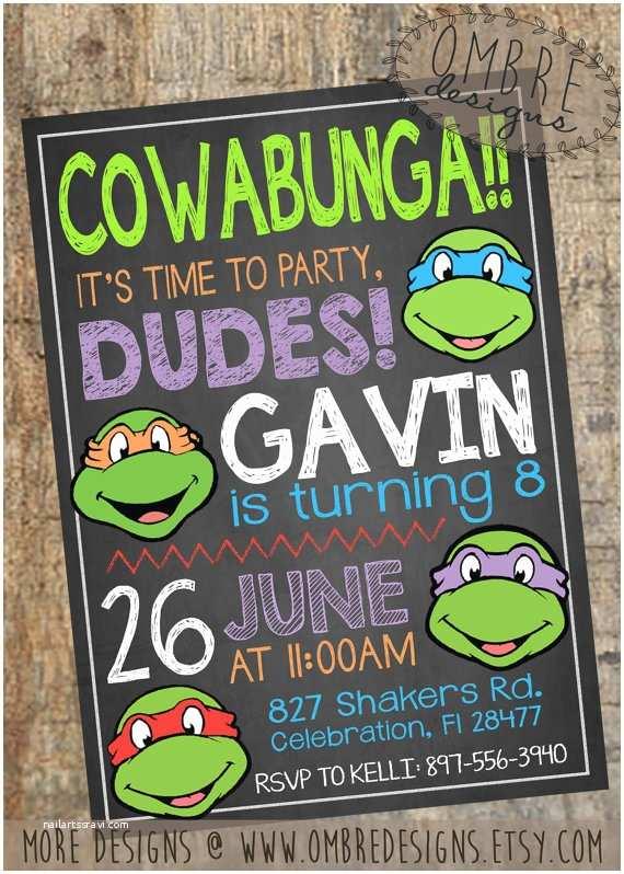 Tmnt Birthday Invitations Ninja Turtles Invitation Tmnt Invite Chalkboard by