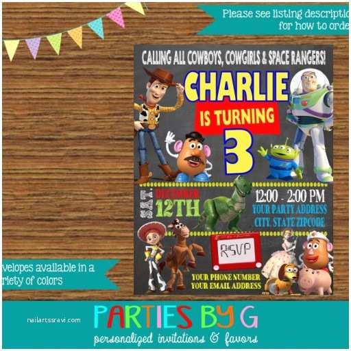 Toy Story Birthday Invitations toy Story Chalkboard Birthday Party Invitations