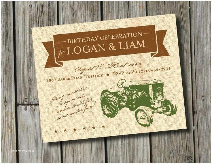 Tractor Birthday Invitations Diy Printable Vintage Tractor Birthday Invitation Digital File