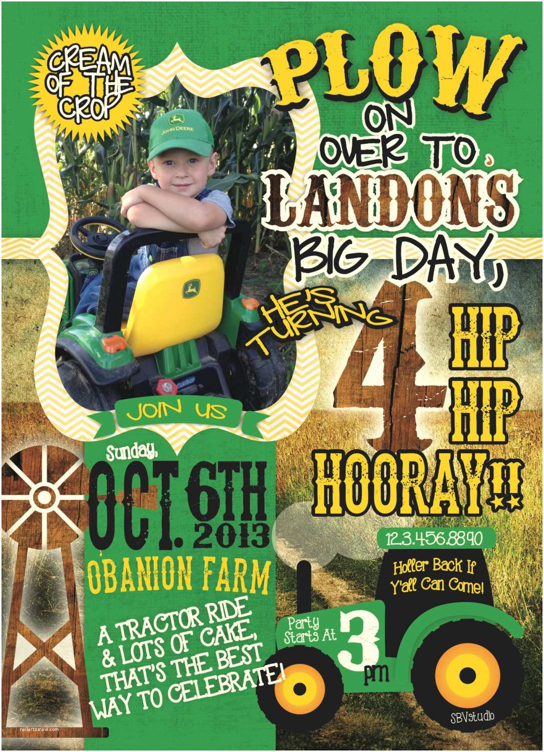 Tractor Birthday Invitations Farm Tractor themed Birthday Invitation Birthday Digital or