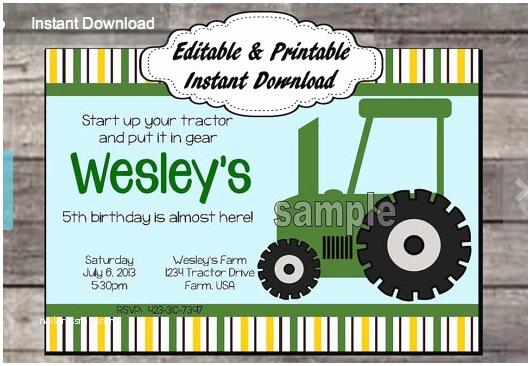 Tractor Birthday Invitations Free Printable Kids Tractor Birthday Invitation
