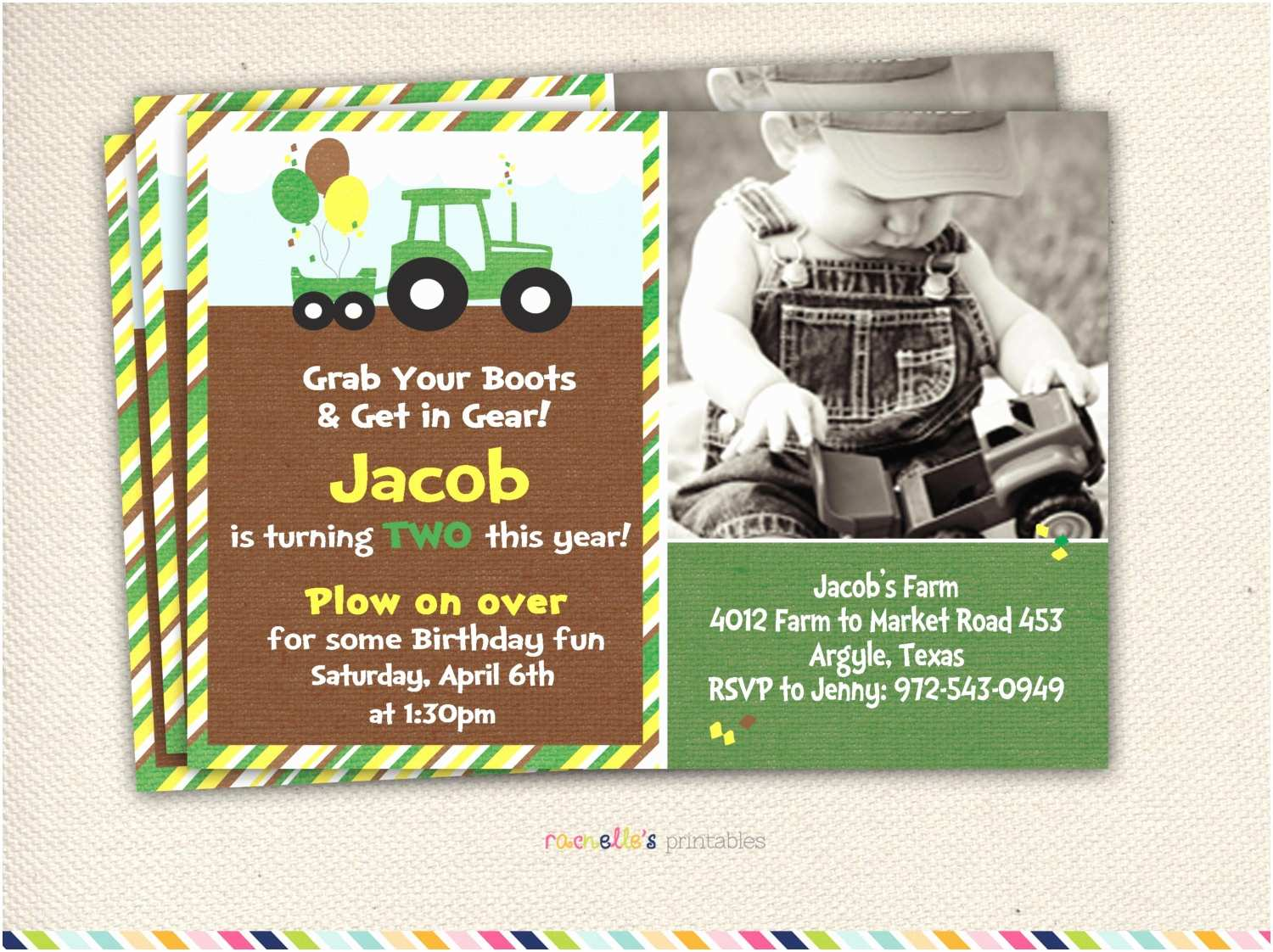 Tractor Birthday Invitations Green Tractor Birthday Party — Criolla Brithday & Wedding