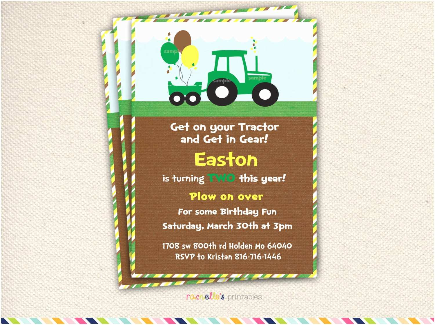Tractor Birthday Invitations Green Tractor Birthday Party Invite and Thank You Cards