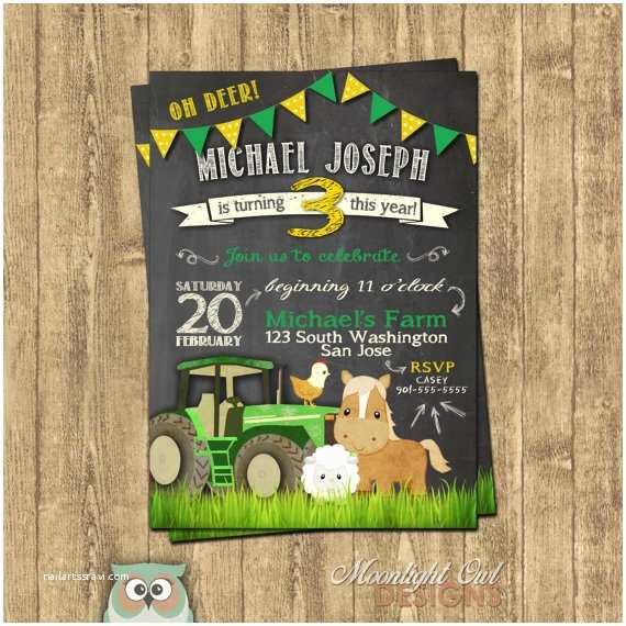 Tractor Birthday Invitations John Deere Inspired Tractor Birthday Invitations