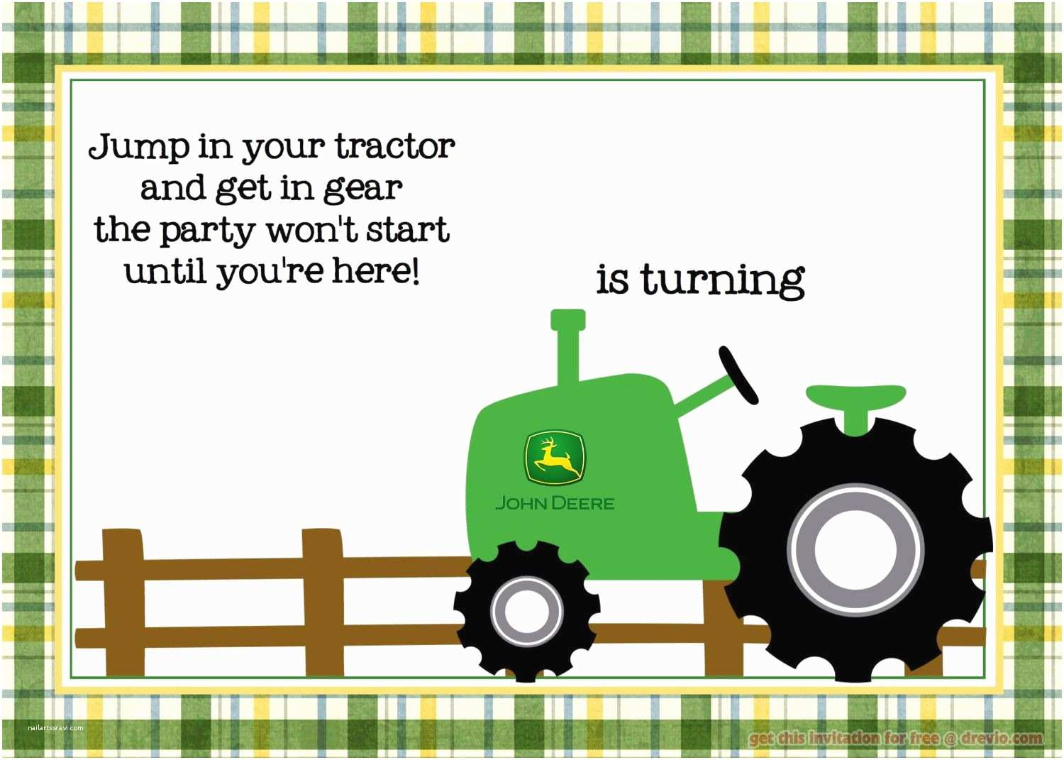 Tractor Birthday Invitations Nice Free Printable John Deere Tractor Birthday Invitation