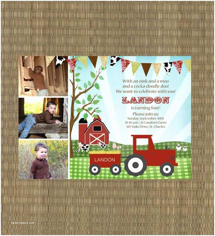 Tractor Birthday Invitations Printable Farm Birthday Invitation Kids Barn Invitation