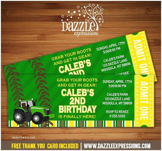 Tractor Birthday Invitations Printable John Deere Tractor Ticket Birthday Invitation