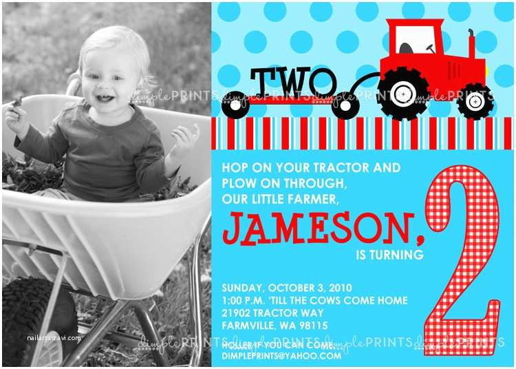Tractor Birthday Invitations Red Tractor Printable Birthday Invitation Dimple Prints Shop