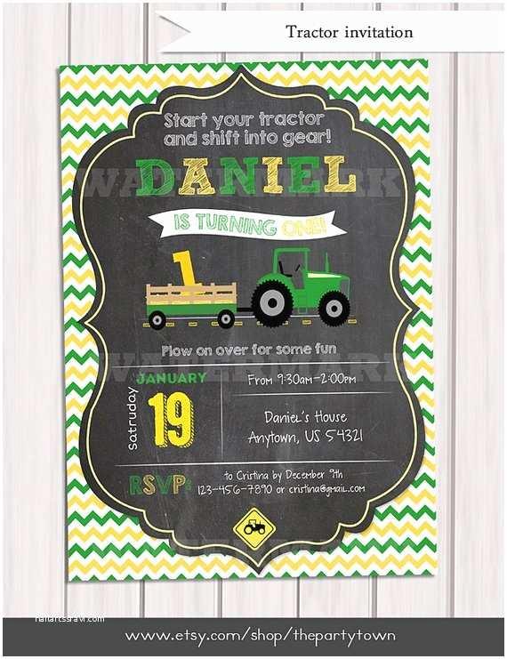 Tractor Birthday Invitations Tractor Birthday Invitation Chalkboard Invitation Farm