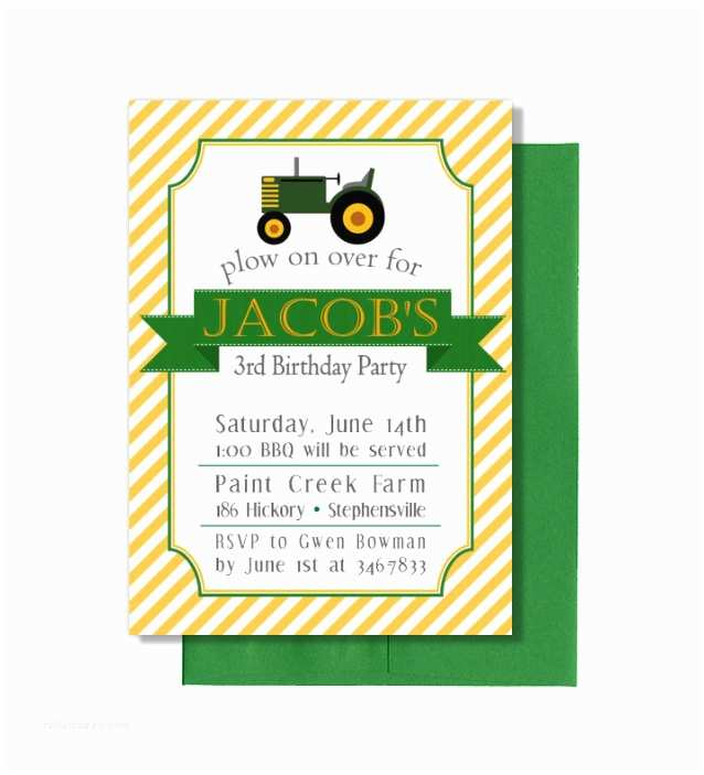 Tractor Birthday Invitations Tractor Birthday Invitation Diy Customized Birthday Party Baby