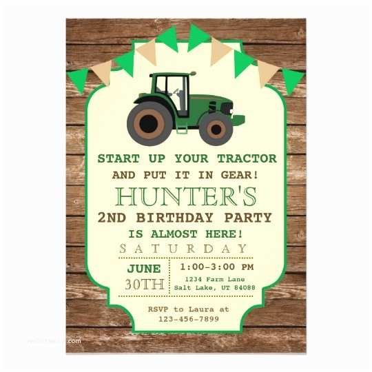 Tractor Birthday Invitations Tractor Birthday Invitation Farm Birthday Card