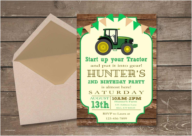 Tractor Birthday Invitations Tractor Birthday Invitation Farm Invitation by Pixiprintables