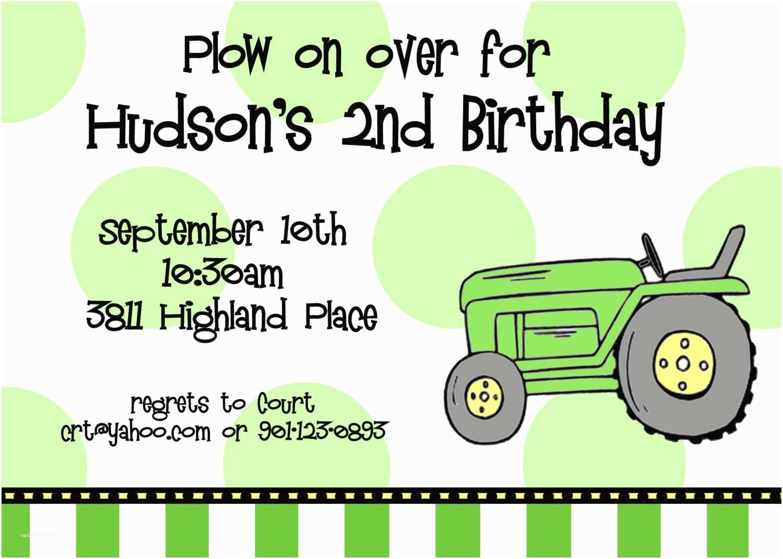 Tractor Birthday Invitations Tractor Birthday Invitations Template