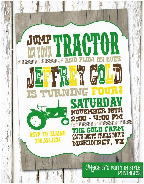 Tractor Birthday Invitations Tractor Birthday Invite by Meghily S