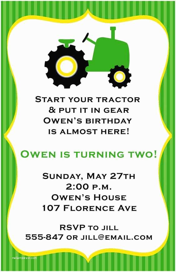 Tractor Birthday Invitations Tractor Birthday Party Invitations by Expressionspaperie