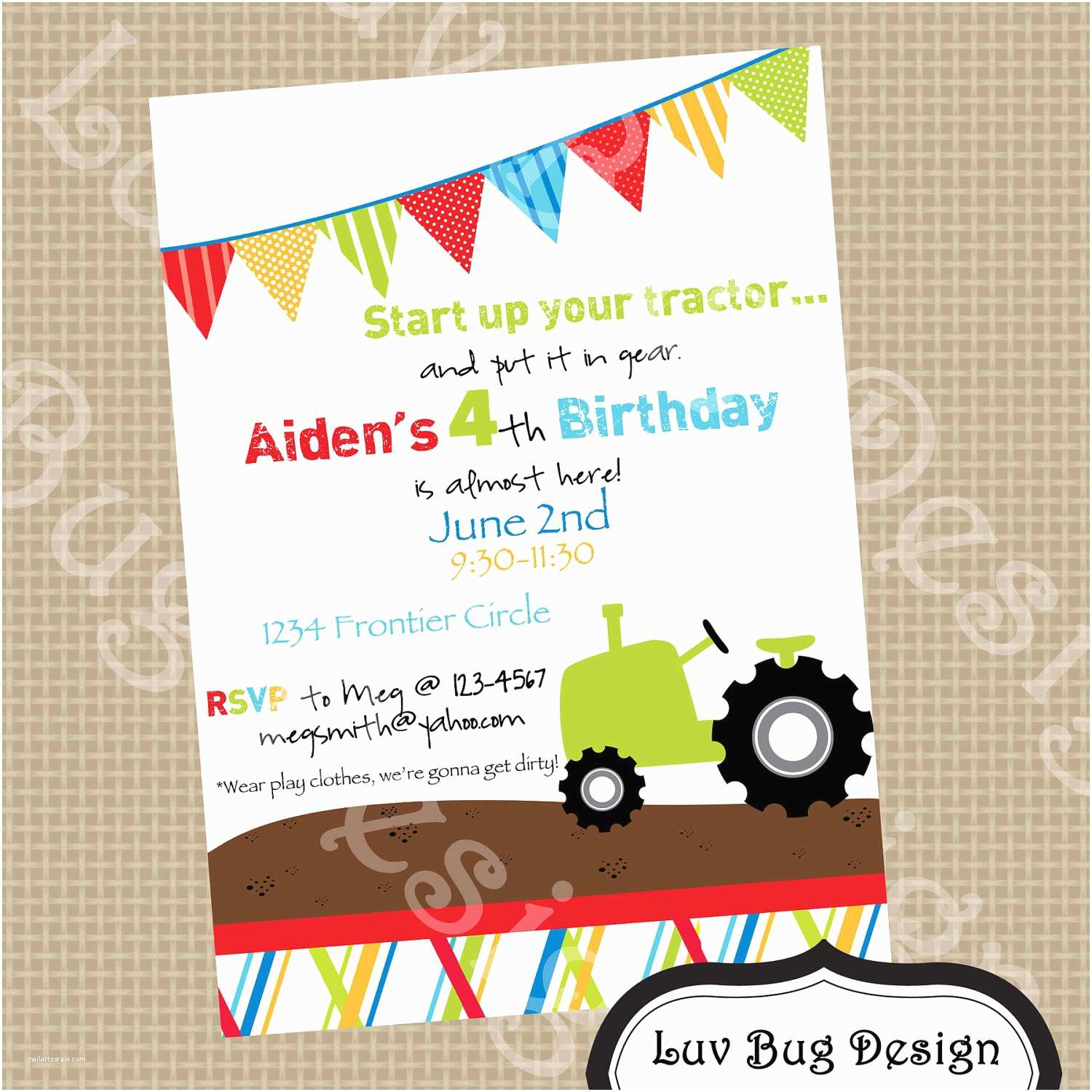 Tractor Birthday Invitations Tractor Birthday Party Invite Printable Party by Luvbugdesign