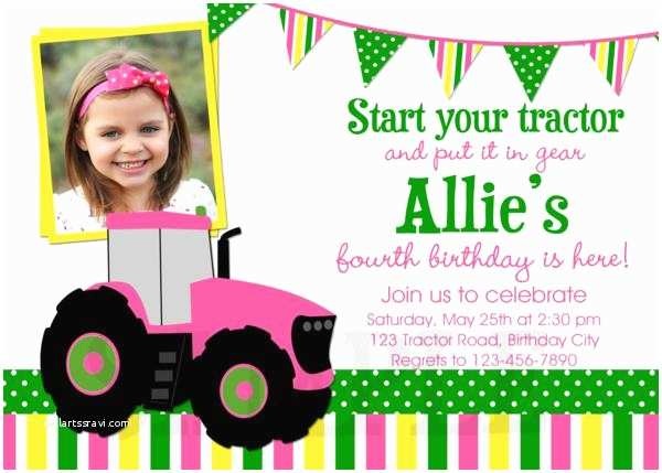 Tractor Birthday Invitations Tractor Printable Birthday Party Invitations Green Pink