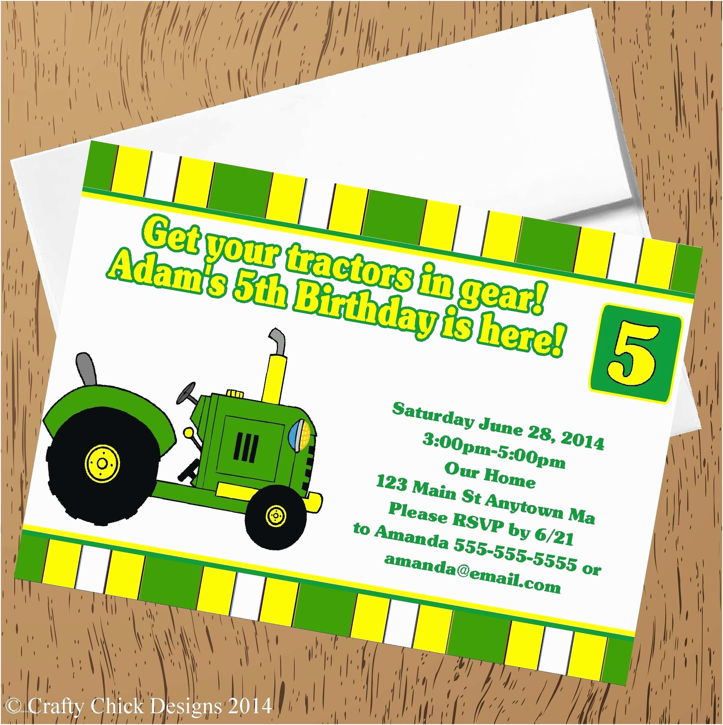 Tractor Birthday Invitations Tractor theme Birthday Party Invitations White