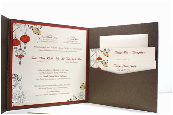 Traditional Vietnamese Wedding Invitations Bilingual English and Vietnamese oriental by