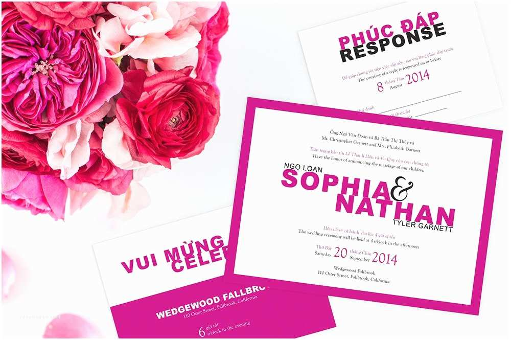 Traditional Vietnamese Wedding Invitations Bilingual Vietnamese Wedding Invitation Set Invitation